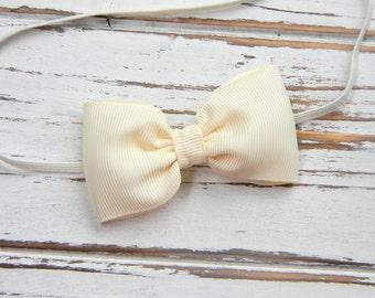 Ivory Bow Headband - Newborn Bow Headband - Baby Ivory Bow Headband
