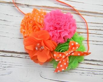 Hot Pink, Orange and Green Shabby Chic Headband - Girls Chiffon Headband - Shabby Chic Headband - Baby Headband