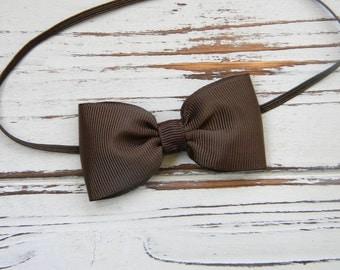 Brown Bow Headband - Newborn Bow Headband - Baby Brown Bow Headband