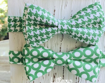 green bow tie, green bowtie for men, green bowties for boys, boys ties, adult bow tie, kelly green
