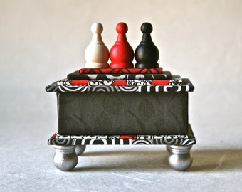 Red White and Black Handmade Box for Gift and Decor
