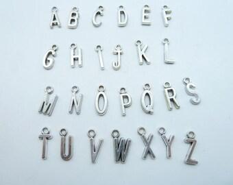 30 pcs(a-z) -16X6mm English Letter  Charm Pendant -Necklace pendants, Jewelry pendants,Bracelets ,Ring Fittings