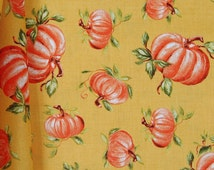 Pumpkin Fabric on Orange Background, Fall and Thanksgiving, Let's Give Thanks by Kate McRostie for Windham, 100% Cotton sold By-The-Yard