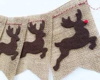 SALE Christmas Reindeer Burlap Bunting Banner