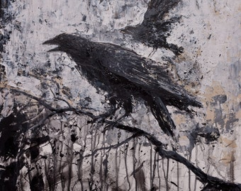 Stormy Dark Modern Gothic Crow RAVEN GICLEE Print on Stretched CANVAS Ready to Hang, Edgar Alan Poe Wall Art Crow Prints Raven Prints