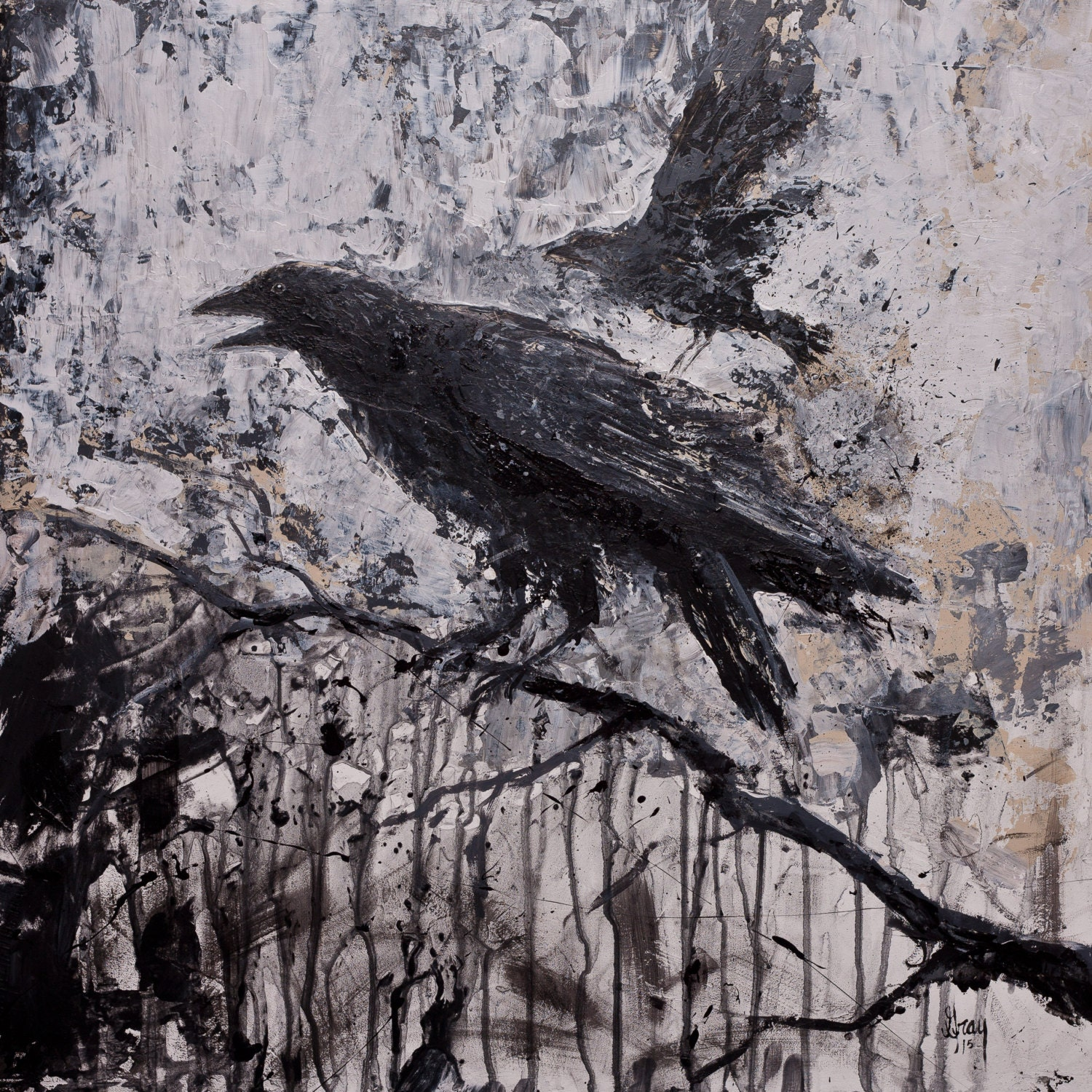 Stormy Dark Modern Gothic Crow RAVEN GICLEE Print on Stretched Modern Gothic Paintings