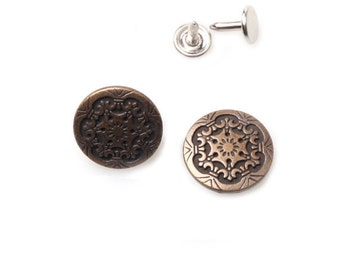 10 sets 20mm buttons denim No Sew Jean tack metal buttons Antique gold button fastener with manual - Frozen