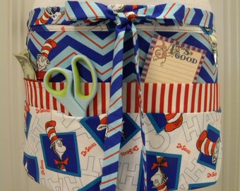 Teacher Crafter Vendor Utility Apron-Cat in the Hat and Blue Chevron