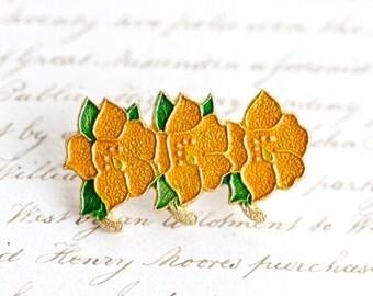 Orange Flowers Lapel Pin- Vintage Brooch - Made in Korea