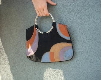Patchwork suede purse
