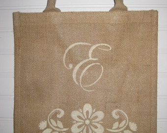 Burlap/Jute Bag - Personalize  - Just add a name/initials or word - Rope type handles