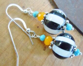 Lampwork Gemstone Silver Beaded Earrings Black White