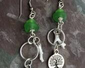 Green Sea Glass, White Coral Earrings, Green Swarovski Sea Glass Dangles, Silver Tree of Life Charms, Beach Style Handmade by GlassLynx