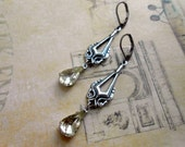 Art Deco Inspired Earrings, Drop, Dangle, Silver, Repurposed Vintage, Upcycled, Recycled, Bridal, Wedding, Bridesmaid