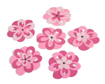 Pink flowers - set of 6 (F13) - Ready to ship!