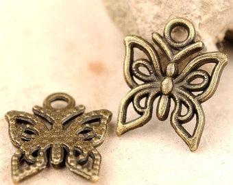 10pcs-filigree butterfly charm- Antique brass metal Charm-ALZ 0434