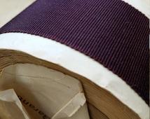 "1.375"" Sawtooth Edge Vintage French Petersham Grosgrain millinery hatband belting Ribbon Trim Deepest Plum purple wine"