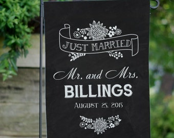 Personalized Just Married Garden Flag, double sided, marriage, wedding, wedding gift, bride, groom, decor, outdoor, yard -gfy83095932DS