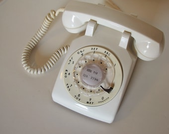 Vintage White Bell Rotary Phone