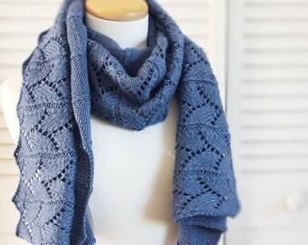 Knitting Pattern Scarf Blue Denim Wool Bamboo Silk