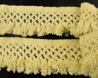 Vintage Cotton Ivory Fringe  Edging, Vintage String Fringe, Vintage X Design Fringe, Vintage Craft Supplies
