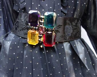 YSL Yves Saint Laurent Rive Gauche Black Embroidered Belt w/Faux Gemstones