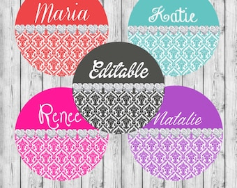 "INSTANT DOWNLOAD EDITABLE Damask Diamonds Jpeg 4x6 Bottle Cap Images. 1"" Circles. Hairbows, Jewelry, Bottle Caps"