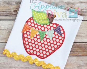 Back to School Pennant Apple Digital Embroidery Design Machine Applique