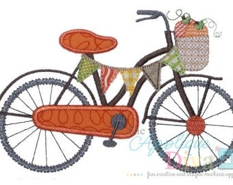 Fall Pumpkin Bike Digital Embroidery Design Machine Applique