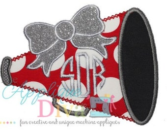 Fall Cheer Big Bow Megaphone Embroidery Design Machine Applique