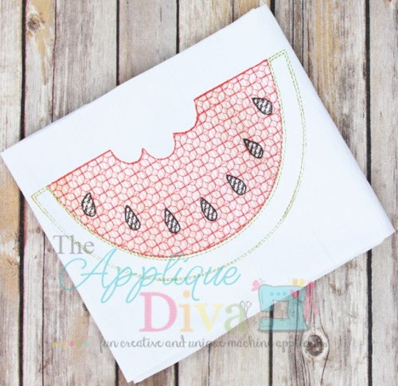 Vintage stitch watermelon digital embroidery design machine