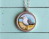 Seagull Necklace, Seagull Jewelry, Hand Painted, Pendant, Jewelry, Michelle Meyer, Ocean, Necklace, Beach Jewelry, Bird, Sea