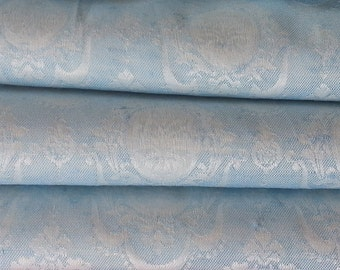 """Brocade Blackout Curtains, Baby Blue and Pearl, 25""""w. at top x 38""""w. at bottom x 63"""" l., 50% OFF"""