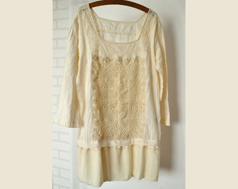 dress/tunic, cotton, lace, crochet, ecri, recycled dress, upcycled clothing, shabby chic