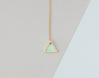 Mini Geometric Two Triangle Necklace (Mint - Gold) - Modern Handmade Jewellery