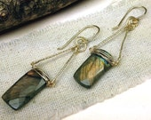 Chandelier Earrings with Textured Gold Wire and Blue Flash Labradorite