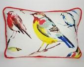 Birdwatcher Summer Red Yellow Blue Bird Pillow Decorative Richloom Bird Lumbar Pillow 12x18