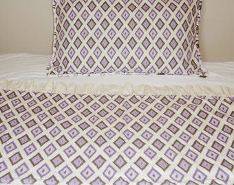 Decorative Ruffled Bed Runner & Pillow Sham Purple Lavender Brown Ivory Twin Bedding Pillow Shams Bed Scarf Reversible