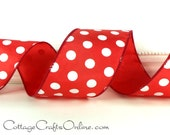 "Wired Ribbon, 2 1/2""  wide, Red and White Polka Dot - THREE YARDS - ""Peppermint Dot"", Christmas, Valentine, July 4th Wire Edged Ribbon"