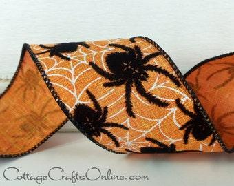"Halloween Wired Ribbon, 2 1/2"", Black Flocked Spiders and Web Print, Glitter  - THREE YARDS -  Offray ""Tarantula"" Orange Wire Edged Ribbon"