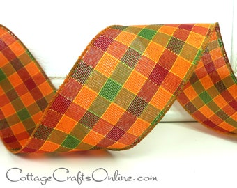 "Fall Wired Ribbon, 2 1/2"",  Plaid Orange, Green, Cranberry Red, Yellow - THREE YARDS - Morex ""Autumn Plaid"" Thanksgiving Wire Edged Ribbon"