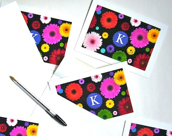 Monogram Zinnia Note Cards - Your Initials, 'Flower Power' Colorful Glossy! Set of 8