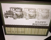 Handmade Stamped Stampin Up Classic Car Masculine Guy Greeting Card