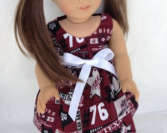 18 inch Doll Game Day Dress of  Texas A&M all over fabric,  made to fit 18 inch dolls such as American Girl and similar 18 inch dolls