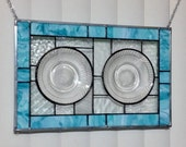 Stained glass panel window vintage meets modern blue stained glass window panel window hanging abstract vintage plates