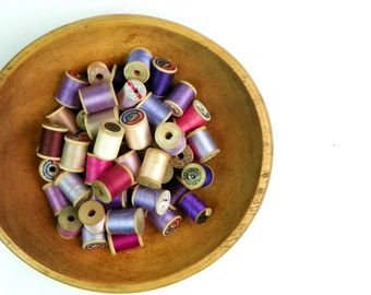 Huge Collection of Wooden Spools & Thread