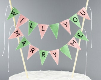Will You Marry Me Sign, Cake Bunting Banner, Marriage Proposal Prop, Peach Mint Green, Wedding Proposal Banner, Engagement, Pop the Question