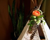 Turkey Feather and floral teepee trim Peach and white