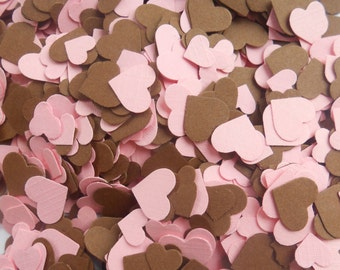 Over 2000 Mini Confetti Hearts. PINK & BROWN Mix. Weddings, Baby Showers, Decorations. Pink