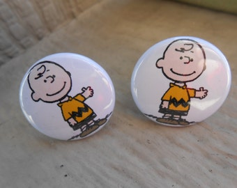 Charlie Brown Button Cufflinks. Wedding, Men's, Groomsmen Gift, Valentine, Dad. Silver Plated. Button Cufflink